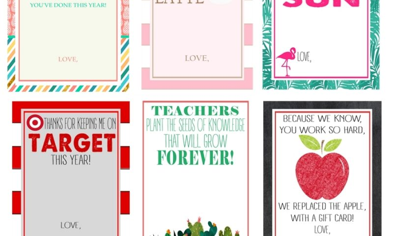 Free Teacher Gift Card Printables