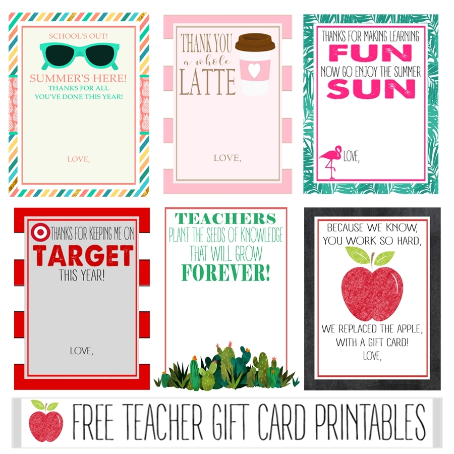 Free Teacher Gift Card Printables - Crisp Collective