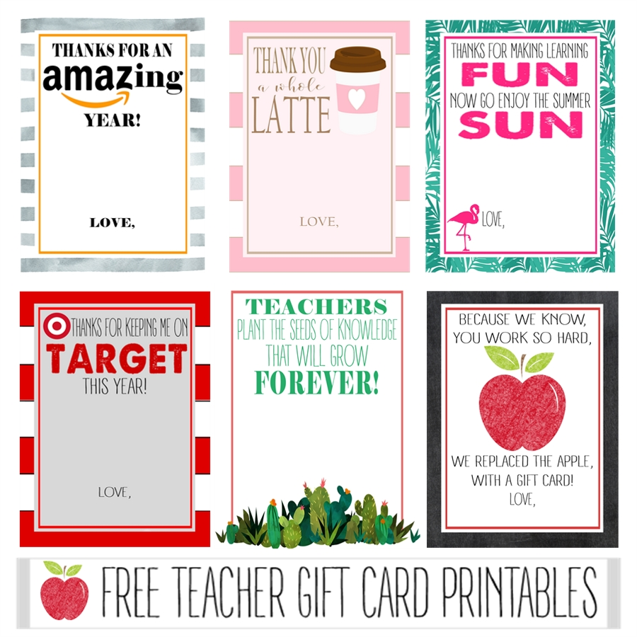 Free Teacher Gift Card Printables  Crisp Collective