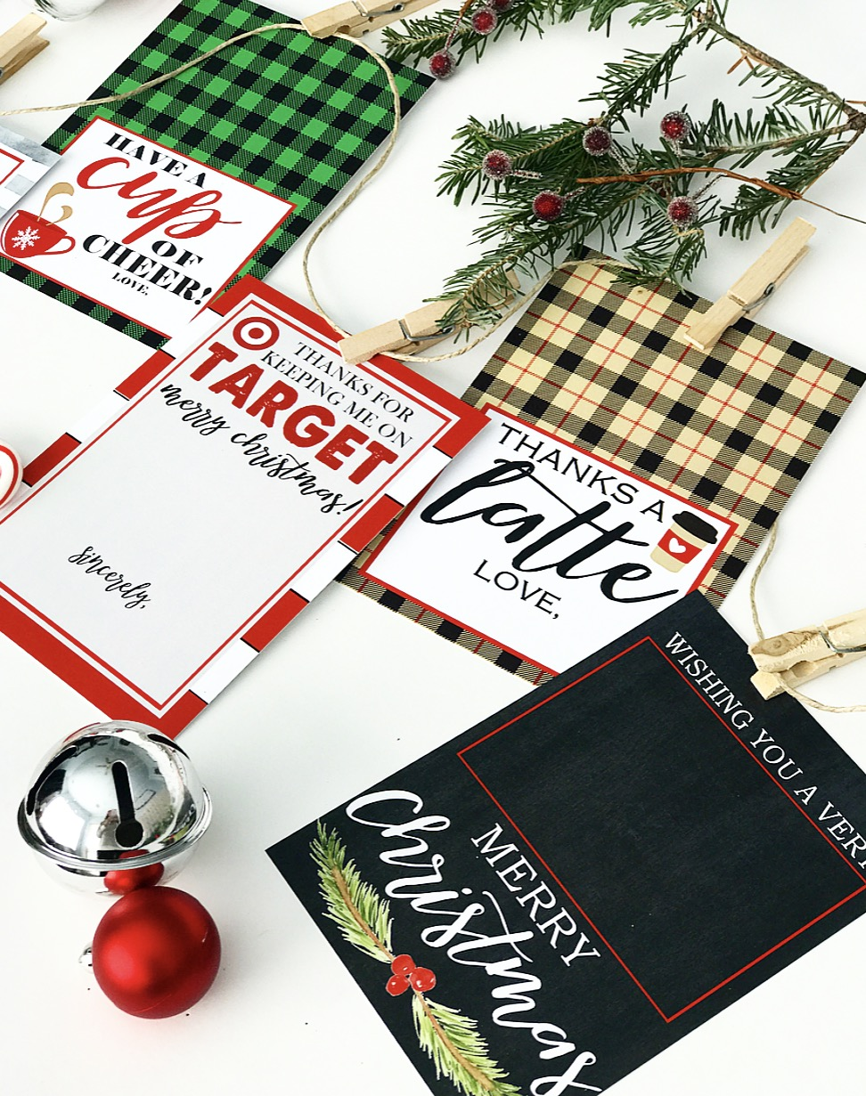 image regarding Thanks a Latte Christmas Printable called Xmas Present Card Holer Absolutely free Printables - Crisp Collective