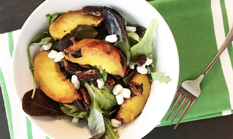 Grilled Peach Salad with Toasted Pecans and Goat Cheese