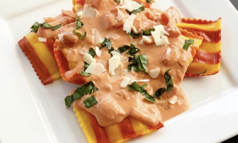 Trader Joe's Lobster Ravioli with Creamy Tomato Sauce