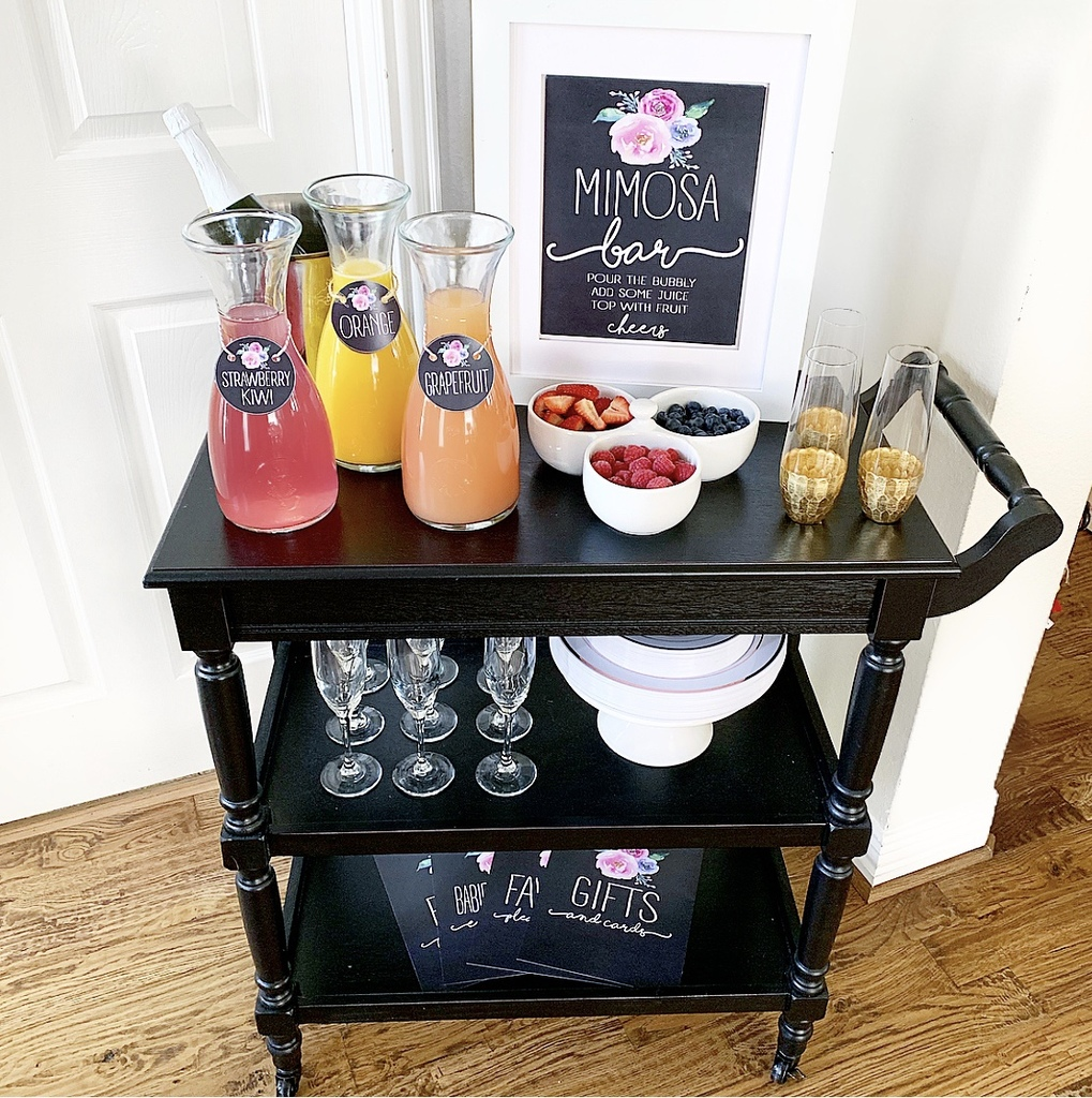 image about Free Printable Mimosa Bar Sign named Mimosa Bar set up and absolutely free shower printables