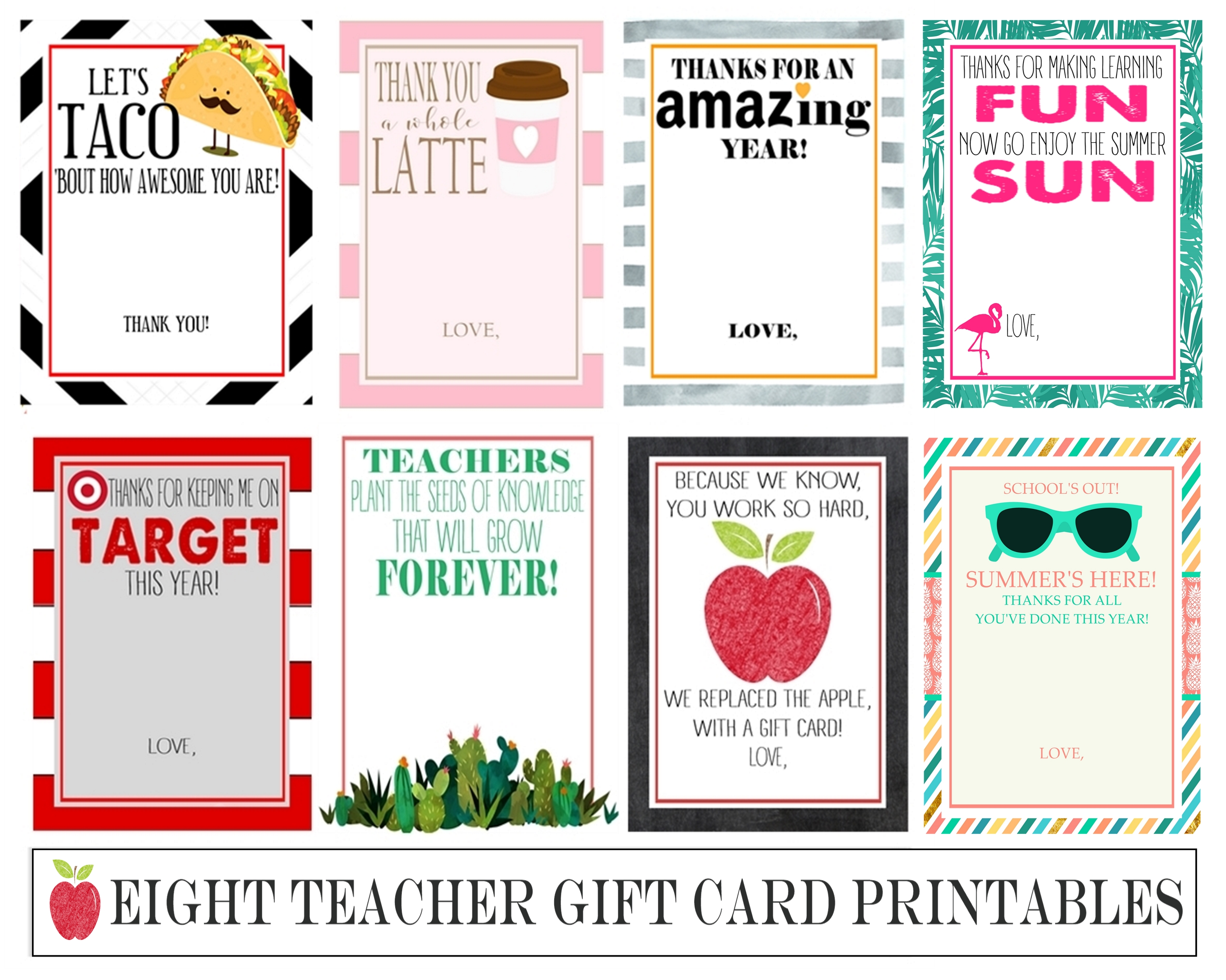 Eight Instant Download Teacher Gift Card Printables - Crisp ...
